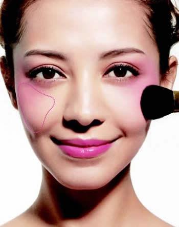 不同脸型腮红画法