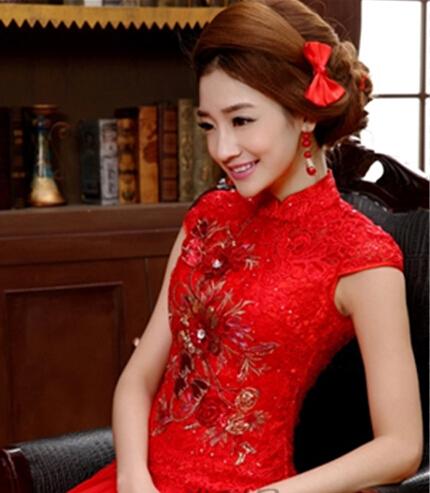 新娘红色礼服发型